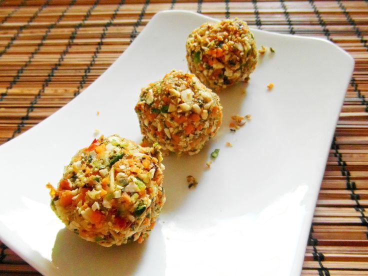 zeleninové kuličky s dýňovými semínky raw bolitas de verdura con semillas de calabaza