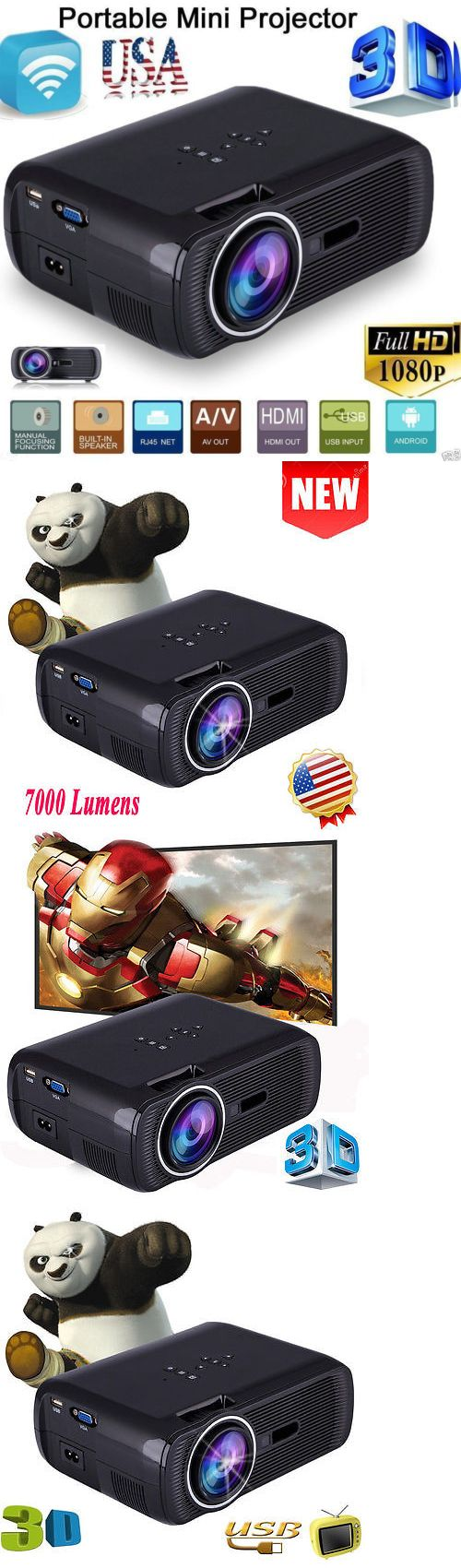 Home Theater Projectors: 7000 Lumens Hd 1080P Home Cinema Theater Multimedia Led Lcd Hdmi 3D Tv Projector -> BUY IT NOW ONLY: $71.99 on eBay!