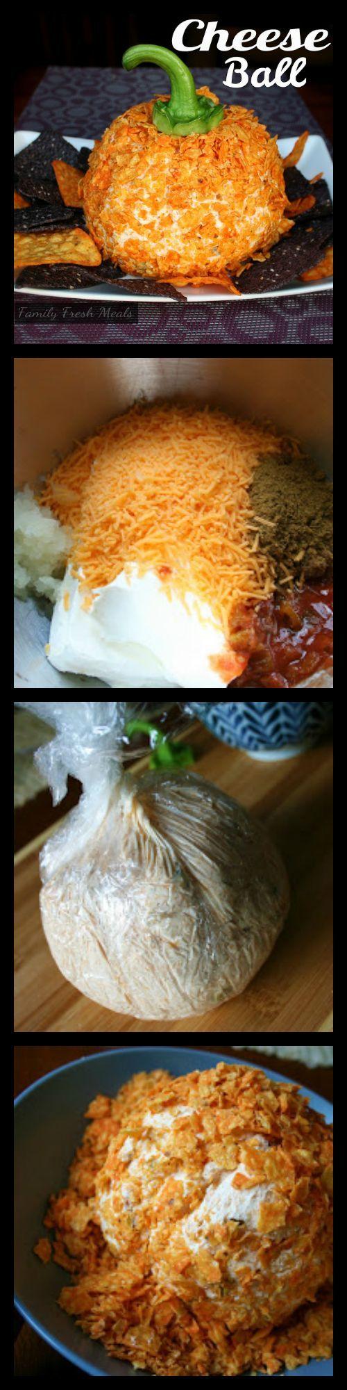 FALL RECIPES | Pumpkin Shaped Cheese Ball {Recipes for Halloween & Thanksgiving}