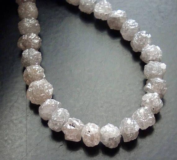 8 Inch Perfect Natural Round Grey White Raw Diamond Beads