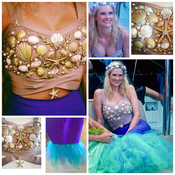 Mermaid Halloween costume - DIY, crystal seashell bra, tulle mermaid skirt, flower and seashell crown