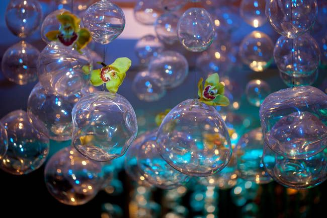"Glass bubbles for a water themed wedding.  This idea comes from an ""Under the Sea"" styled shoot. Photo by A. Tappen Photography via Hot Pink Brides."