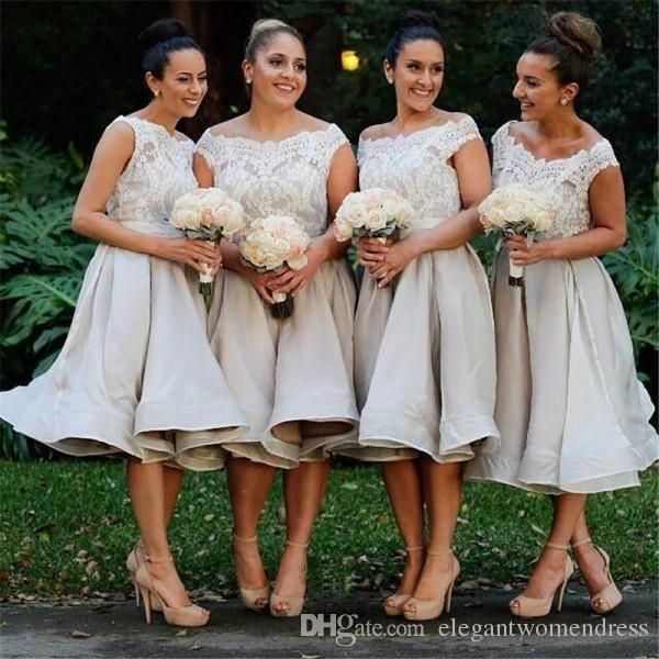 2017 Vintage Short Bridesmaid Dress A Line Illusion Bateau Neckline Romantic Lace Top Bridesmaids Gowns Under Knee Length Custom Made Modest Bridesmaid Dresses With Sleeves Navy Blue Bridesmaids Dresses From Elegantwomendress, $115.58| Dhgate.Com