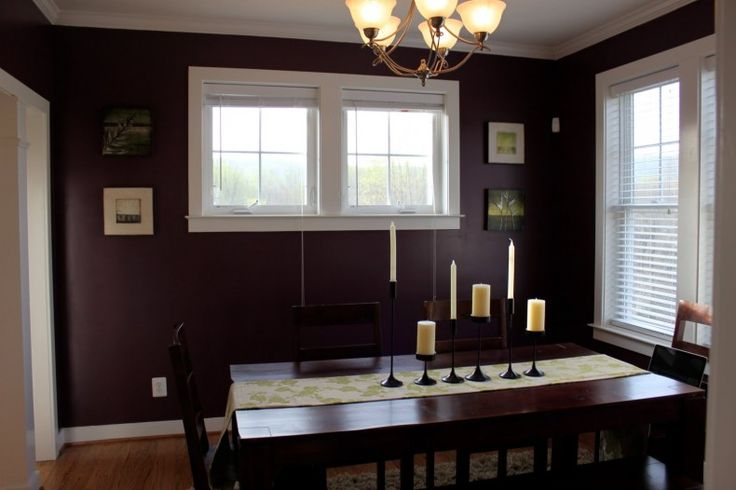 Elegant color combination dining room deep plum dining Purple brown living room