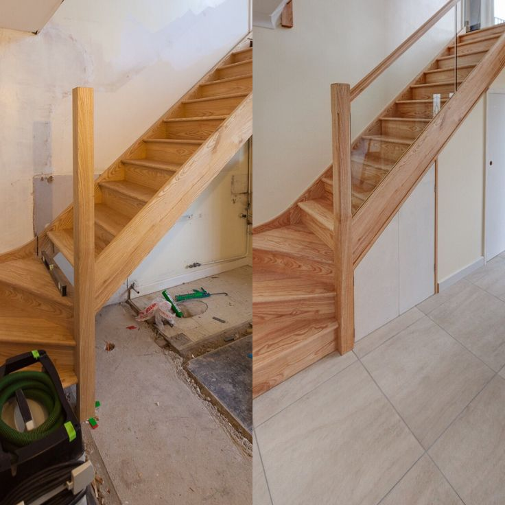 Beautiful oak staircase with glass bannister. Check out the the staircase transformation on our Houzz page.