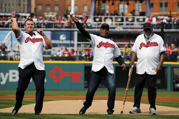 Jim Thome,  Austin Carr and Jim Brown  throw out the ceremonial first pitch at the Cleveland Indians opener.  April 11, 2017  (Gus Chan / The Plain Dealer)