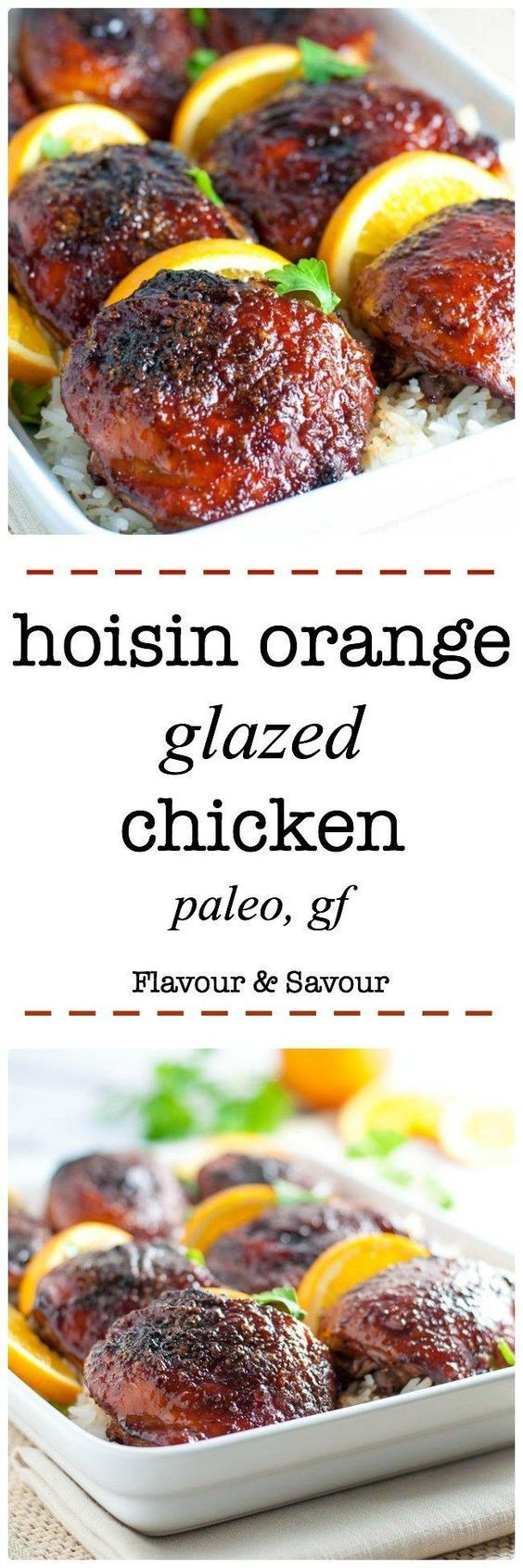 Hoisin Orange Glazed Chicken Thighs. An easy, 5-ingredient glaze for chicken results in succulent, juicy chicken with hints of orange, ginger and garlic. |www.flavourandsavour.com