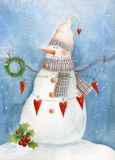 Art Print. Holiday Art. Watercolor Painting. Winter. Snowman. Winter Love.