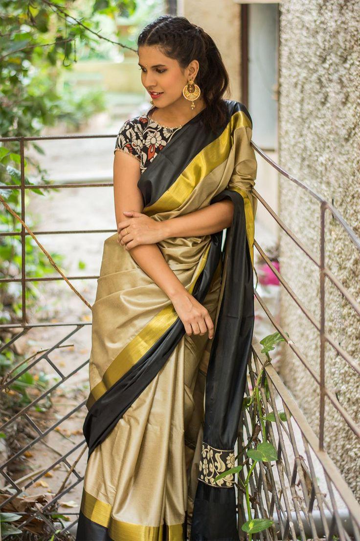 Khaki brown soft cotton silk saree with black and dull gold border  #saree #blouse #houseofblouse #indian #bollywood #style #khaki #brown #black #gold #soft #cottonsilk #kalamkari #pallu