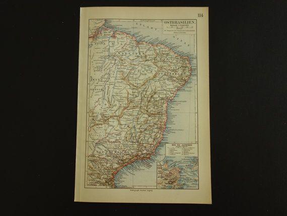 BRAZIL antique map  original 100 years old print by VintageOldMaps