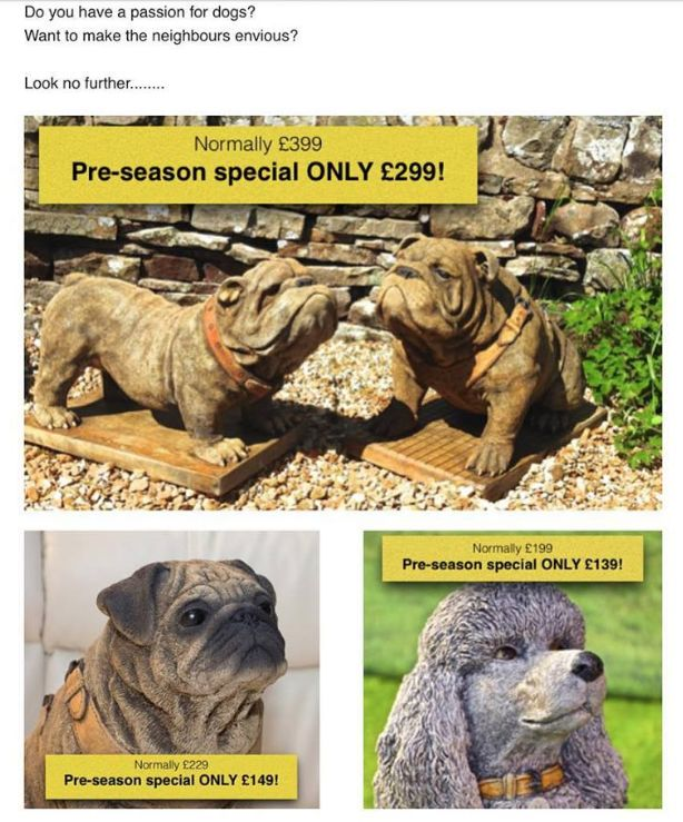 Our Dogs are on offer! Pre-season sale happening now! Stone cast Bulldogs, Poodles, Pugs - all exclusive to Discount Garden Statues! Large garden ornaments, great for garden decor, weather proof and very heavy!