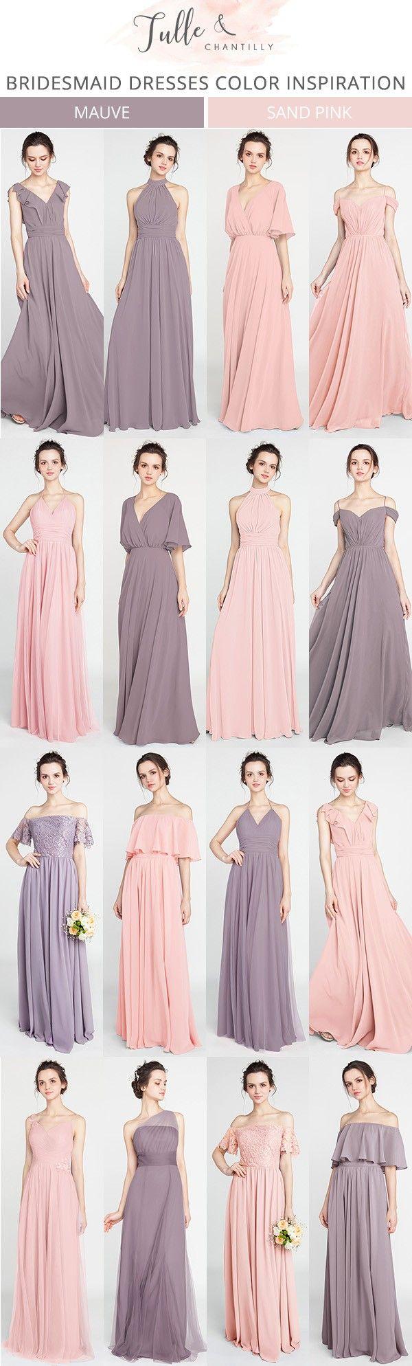 mauve and sand pink bridesmaid dresses for 2018 #bridesmaiddresses #bridalparty #weddingideas #weddingcolors