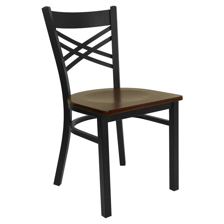 Flash Furniture Hercules 17.25 in. Black Metal and Wood X Back Restaurant Chair - XU-6FOBXBK-MAHW-GG