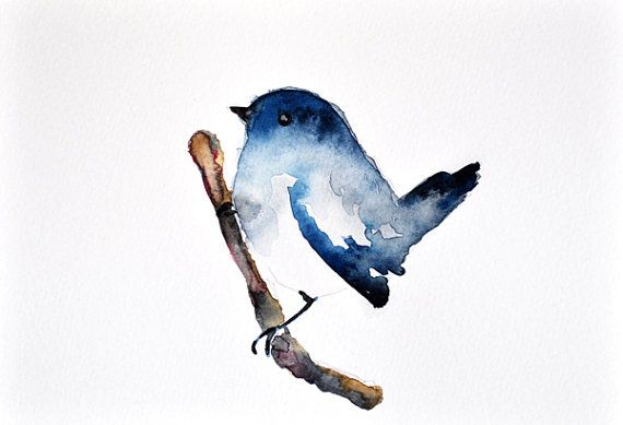 Bird on a branch - ORIGINAL Watercolor bird painting / Bird Illustration 6x8 inch on Etsy, $32.00
