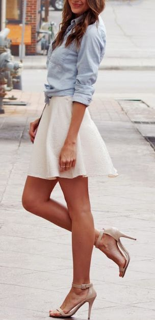 Blue shirt,white skirt