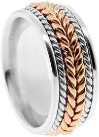 American Set Co. Men's 2 Tone 14k White Rose Gold Braided 8mm Comfort Fit Wedding Band   – Mens Gold Rings