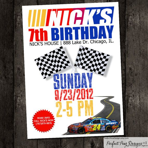 68 best images about Race theme party – Nascar Birthday Cards