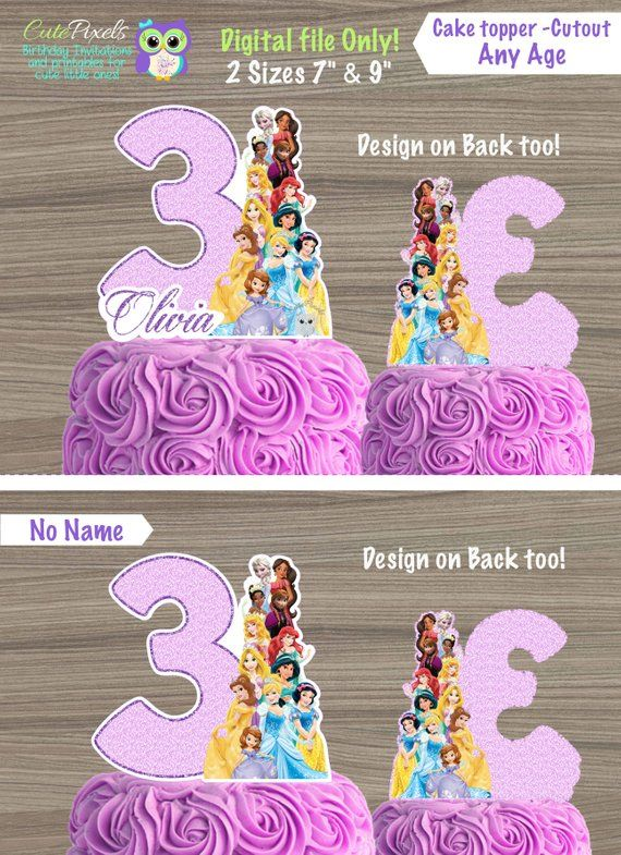 Birthday Princess Decor Name and Age Decoration Cinderella Centerpiece Disney Princess Centerpiece Castle Decor