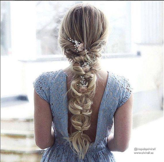 """Boho Gold oder Silber Blume Haarspange, Gold Champagner erröten Floral Haare kämmen, Hochzeit Gold oder Silber Haarnadeln, Boho-Kopfstück - """"Blumenstrauß"""""""