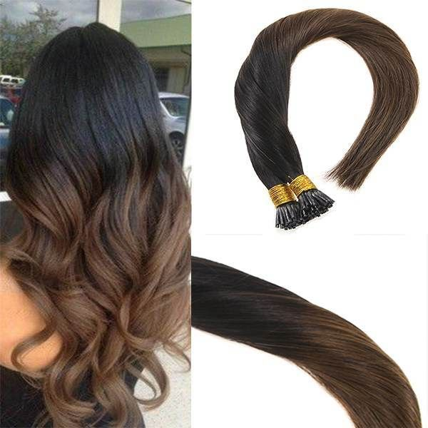 I Tip/Stick Tip Ombre Human Hair Extensions #1b/4