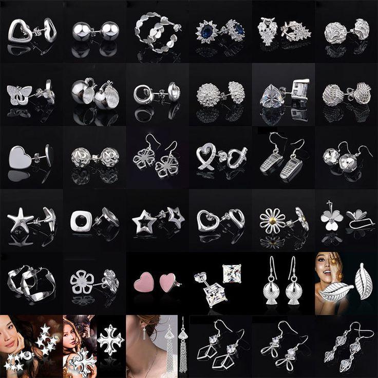 Wholesale Women 925 Sterling Silver Ear Stud Earrings Cheap Crystal Jewelry Hot #UnbrandedGeneric