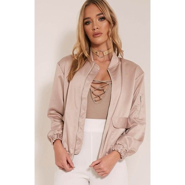 Daliya Mink Satin Bomber Jacket ($40) ❤ liked on Polyvore featuring outerwear, jackets, brown, mink pink jacket, metallic jackets, pink satin jacket, satin bomber jackets and lightweight jackets