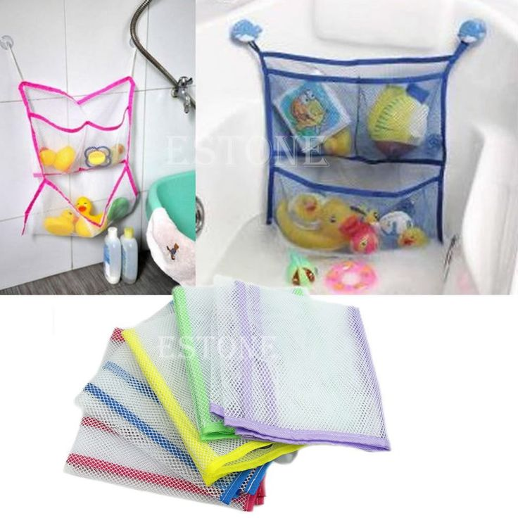 Free Shipping HOT Household Bathroom Bath Organizer Tidy Storage Toys Net Bag Suction Baby Kid