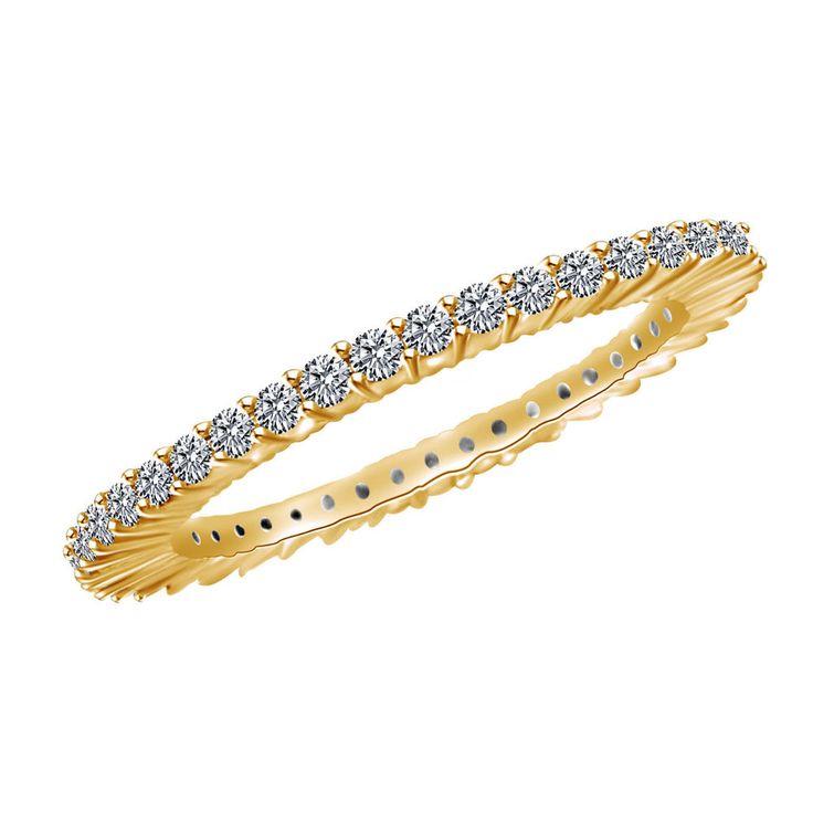 0.75ct Round Cut VVS1 Yellow Gold Eternity Band Ring + BLACK DIAMOND #jpjewels8 #EternityBand #(O-CSRGR12719CZ-YG)