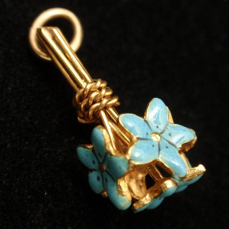 Nosegay Floral Bouquet Charm 14k Yellow Gold Enamel Flowers Vintage NOS Sloan..