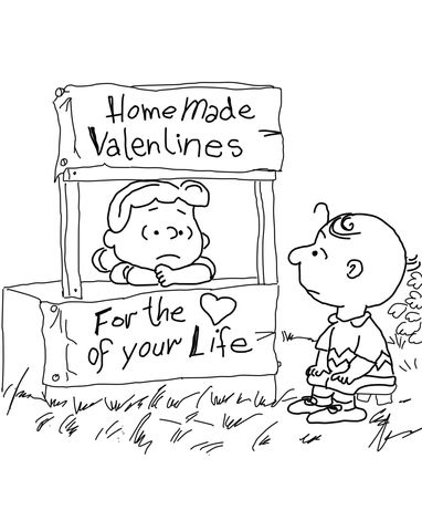 charlie brown valentine coloring pages - photo#25