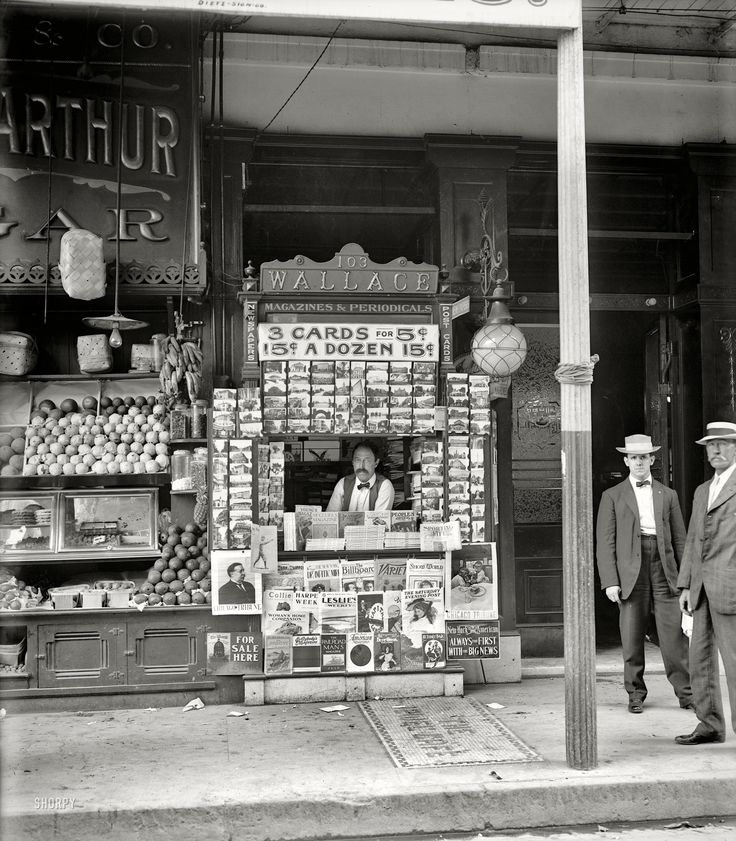 "Cool! I love the magazine titles. 1908. ""Smallest news & post card stand in New Orleans, 103 Royal Street."""
