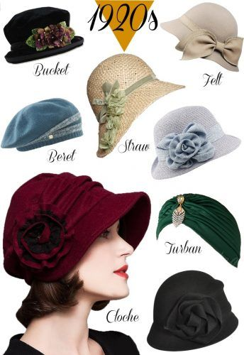 Women's 1920s style hats, cloche hats, Gatsby hats, Miss Fishers Murder Mystery hat, Downton Abbey hat styles.  Shop at VintageDancer.com