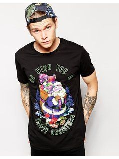 ASOS T-Shirt With Trippy Christmas Print And Skater Fit - Black