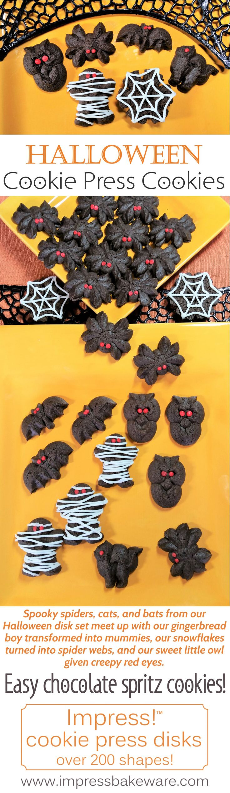 Easy chocolate cookie press spritz cookies. Spooky spiders, cats, and bats from our Halloween disk set meet up with our gingerbread boy transformed into mummies, our snowflakes turned into spider webs, and our sweet little owl given creepy red eyes.
