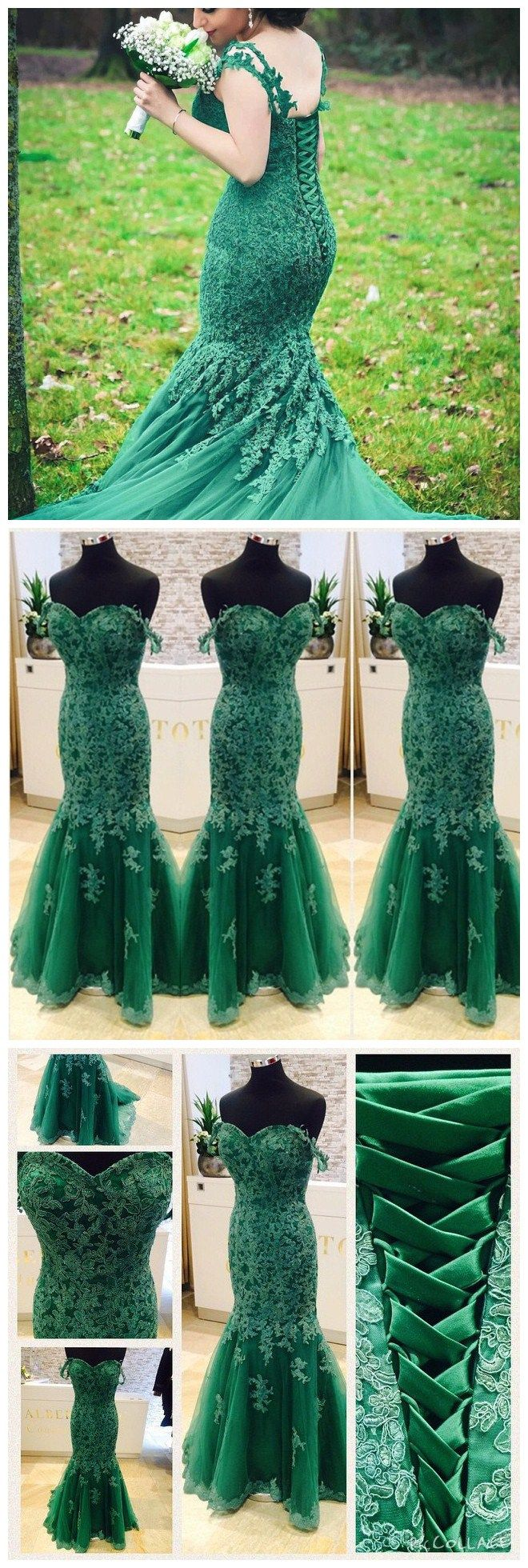 Mermaid lace prom dress,green color!