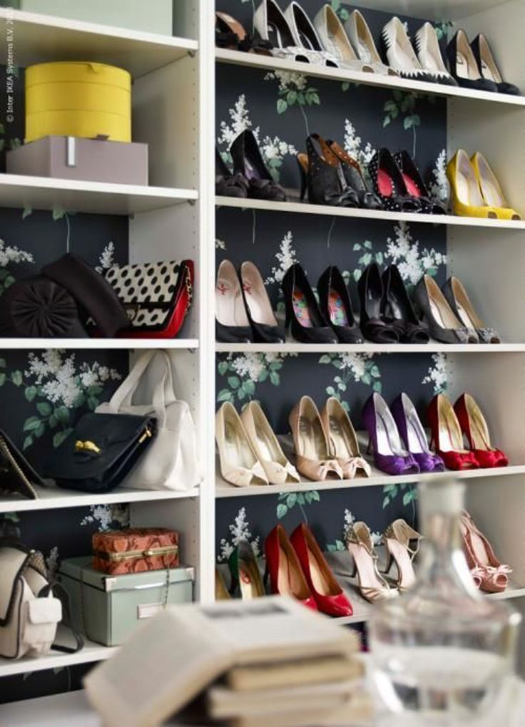 Add Wallpaper to Your Bookcase for an Instant Style Upgrade- Closet Shoe Shelf