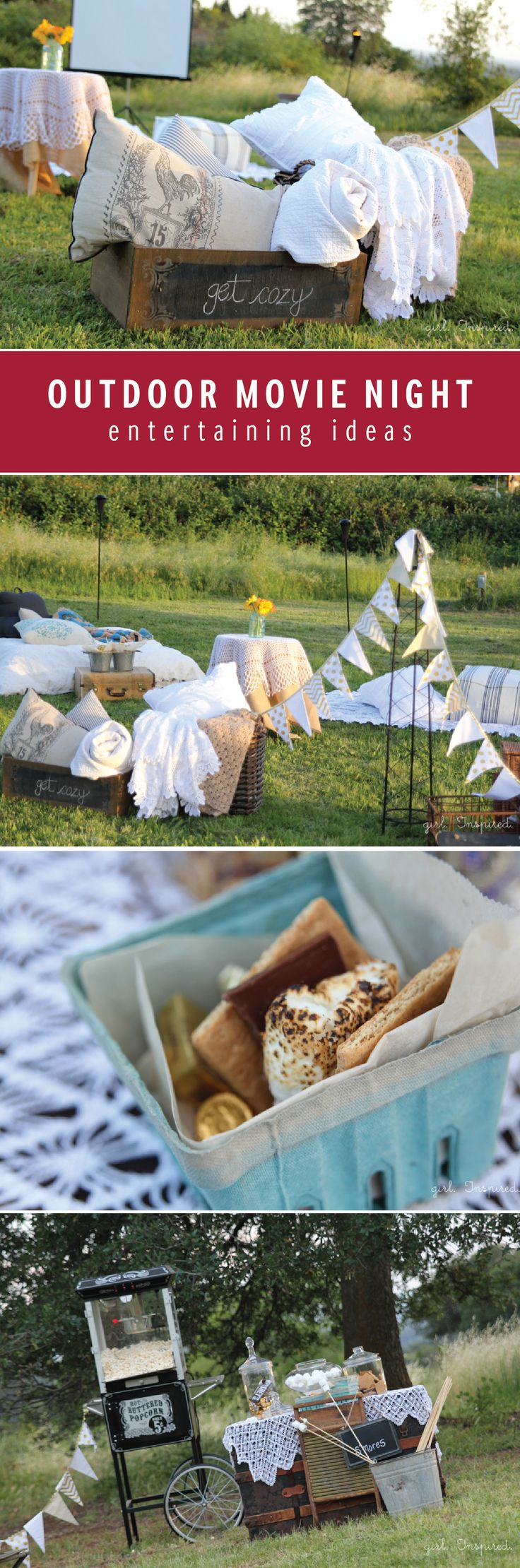 As the temperatures get warmer and you are spending more time outside, host an outdoor movie night! Try hosting this unique grown-up movie night including a s'mores bar, popcorn stand and bar cart filled with the perfect essentials. Be sure to include bottles of Finlandia Vodka so your guests can make their favorite cocktails.