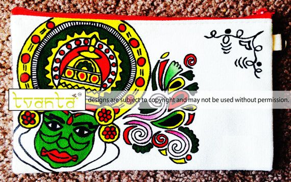 Kathakali Mask Hand Painted Cotton Canvas Clutch by Tvanta on Etsy
