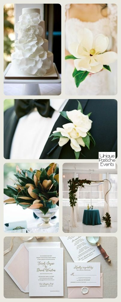 Let's celebrate Wedding Wednesday today with this modern magnolia infused wedding. I am absolutely crazy about this simplistically elegant wedding. The botanical accents scattered lightly throughou...