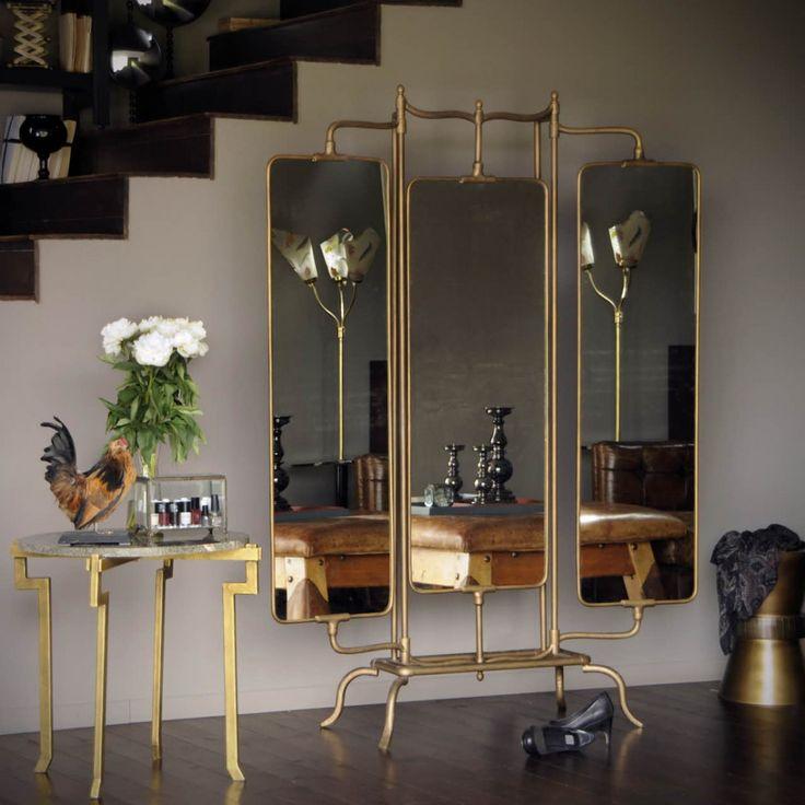 Miroir triptyque en laiton