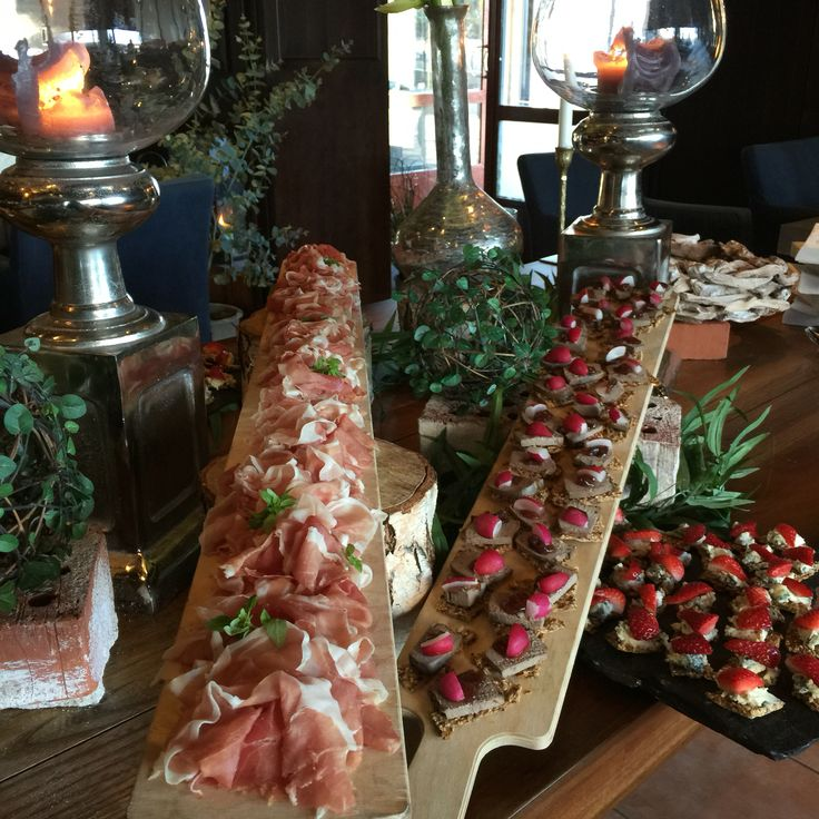 Parma ham and canapés in a buffet ready to serve