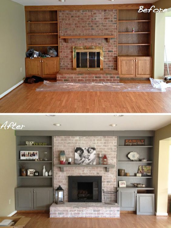 DIY Fireplace Makeover. Whitewash old brick fireplace. Paint Wood Cabinets.  How to Paint Brick.  Painted Fireplace. East Coast Creative