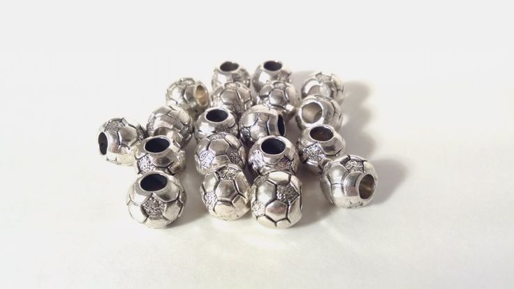 Soccer Ball Beads - European Soccer Bead - Beads - Jewelry Supplies - Bracelet - Jewelry Making Supplies - Antique Silver by JazzhandsSupply on Etsy