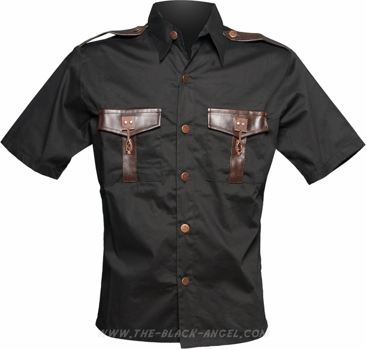 Gothic steampunk shirt with brown leather and brass metal details, by Raven SDL.