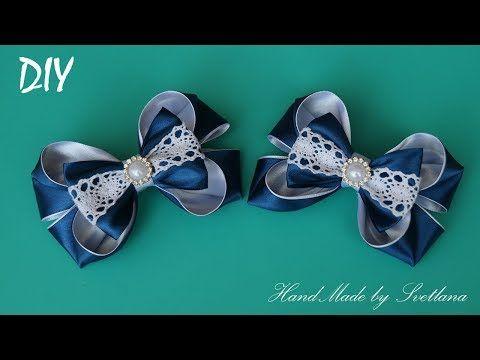 Резинки с бантиками из лент для Школы КАНЗАШИ DIY Bows made of ribbon Kanzashi Laço de Cetim Curva d - YouTube