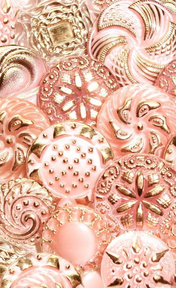 Vintage Glass Pink and Gold Buttons
