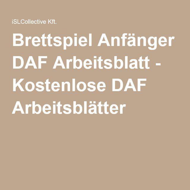 Brettspiel Anfänger DAF Arbeitsblatt - Kostenlose DAF Arbeitsblätter