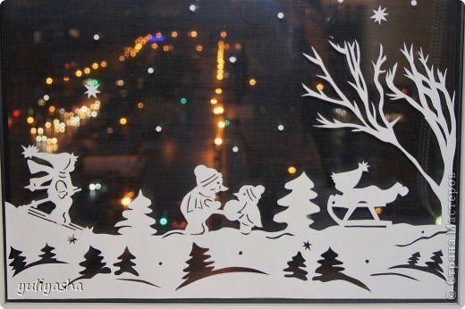 Декор предметов Новый год Аппликация Новогодние окна   Бумага фото 9