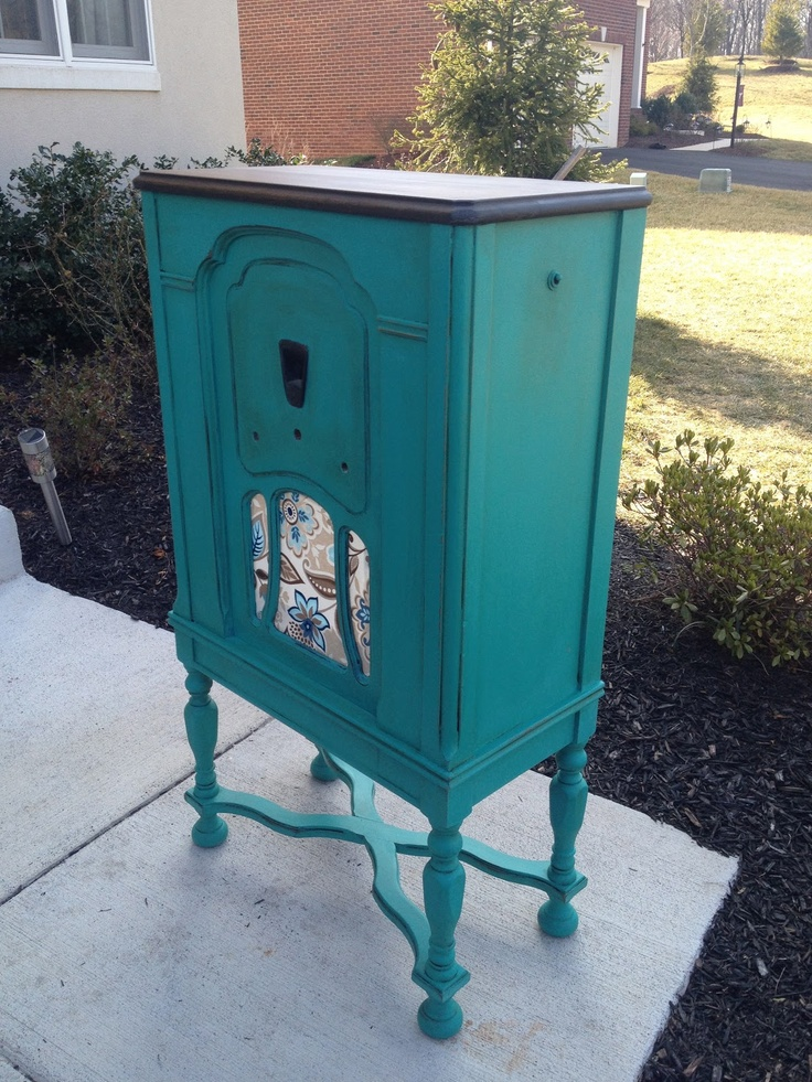 Vintage Radio Cabinet painted turquoise. - 151 Best Radio Cabinets Images On Pinterest Antique Clocks