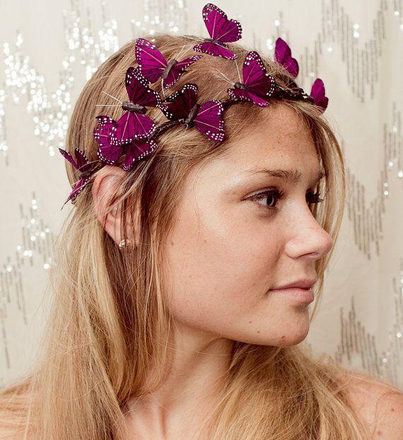 Dark Purple Butterfly Crown by neesiedesigns on Etsy, $27.00